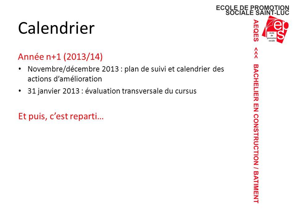 Calendrier Année n+1 (2013/14) Et puis, c'est reparti…
