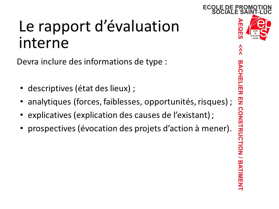 Le rapport d'évaluation interne