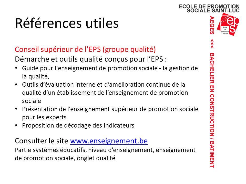 Références utiles Conseil supérieur de l'EPS (groupe qualité)
