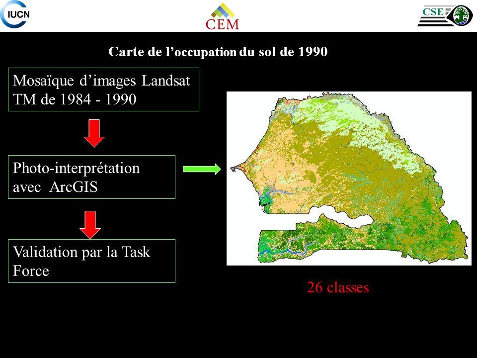 Mosaïque d'images Landsat TM de 1984 - 1990