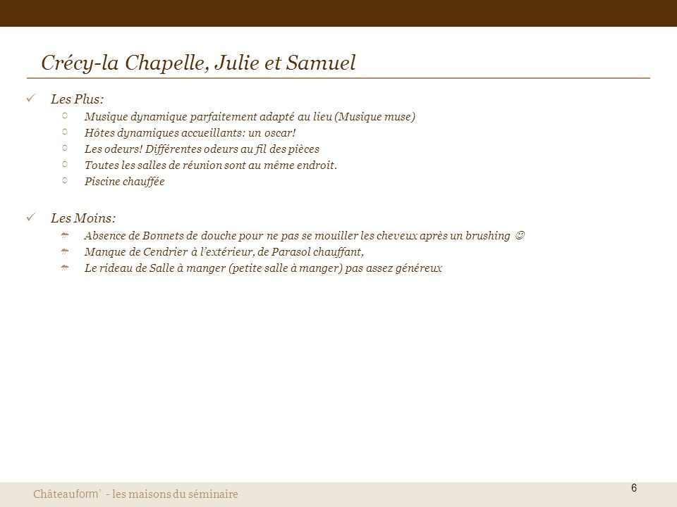 Crécy-la Chapelle, Julie et Samuel