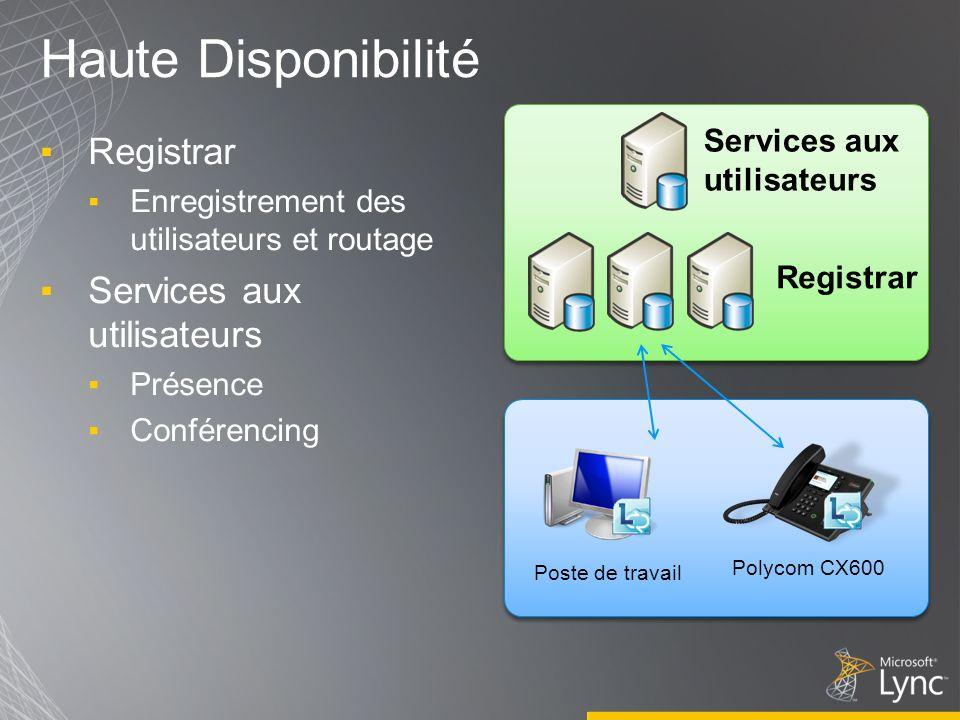 Haute Disponibilité Registrar Services aux utilisateurs