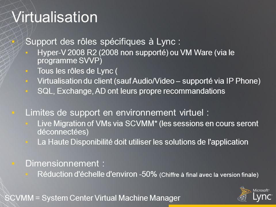 Virtualisation Support des rôles spécifiques à Lync :