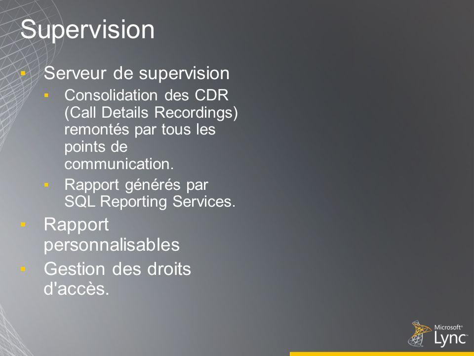 Supervision Serveur de supervision Rapport personnalisables