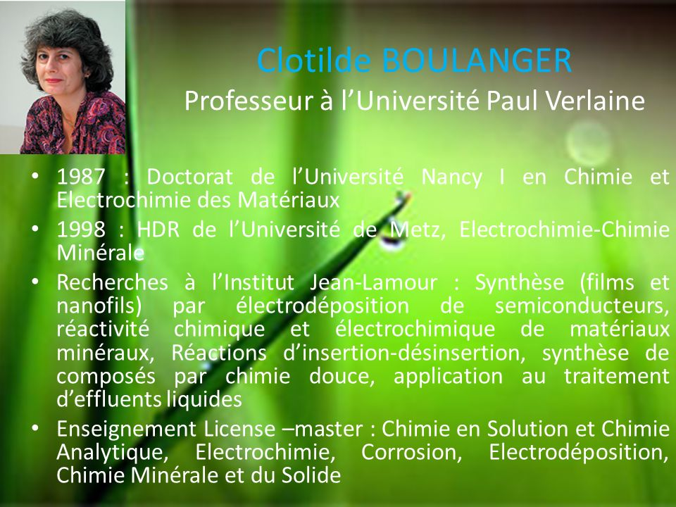 Clotilde BOULANGER Professeur à l'Université Paul Verlaine