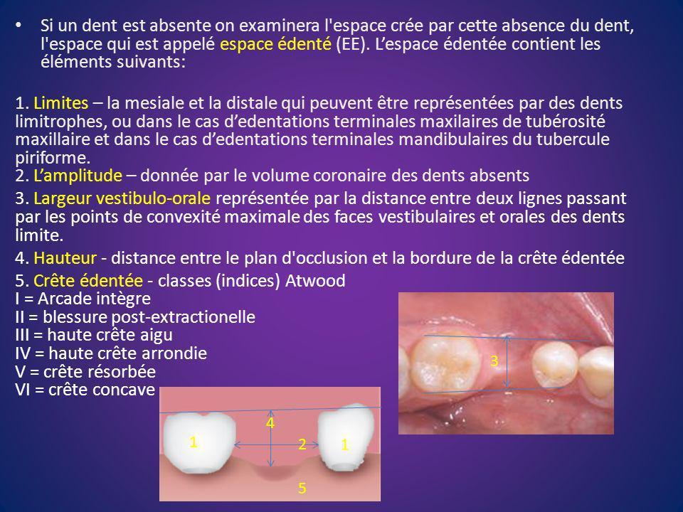 Si un dent est absente on examinera l espace crée par cette absence du dent, l espace qui est appelé espace édenté (EE). L'espace édentée contient les éléments suivants: