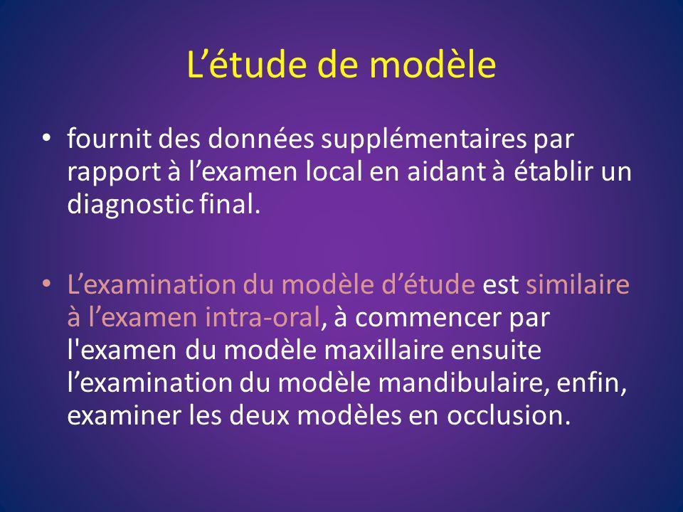 L'étude de modèle fournit des données supplémentaires par rapport à l'examen local en aidant à établir un diagnostic final.