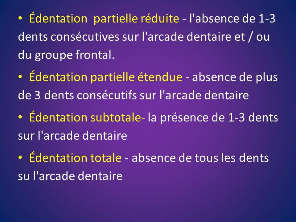 Édentation partielle réduite - l absence de 1-3 dents consécutives sur l arcade dentaire et / ou du groupe frontal.