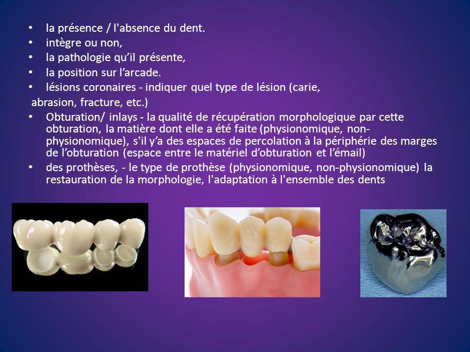 la présence / l absence du dent.