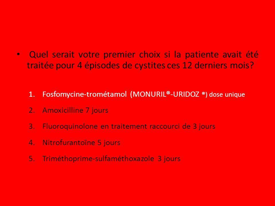 Quel serait votre premier choix si la patiente avait été traitée pour 4 épisodes de cystites ces 12 derniers mois