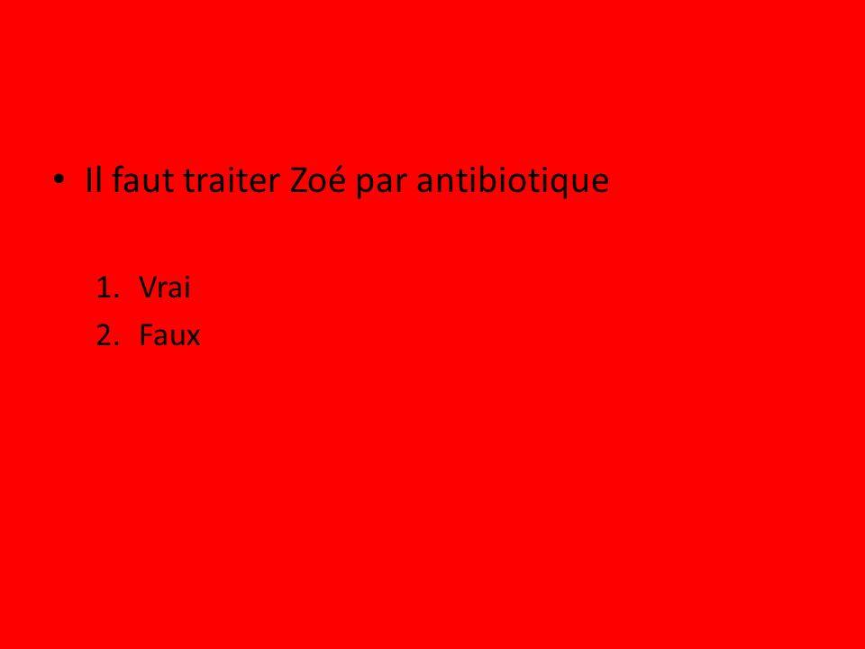 Il faut traiter Zoé par antibiotique