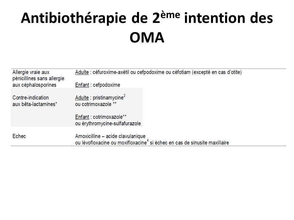 Antibiothérapie de 2ème intention des OMA