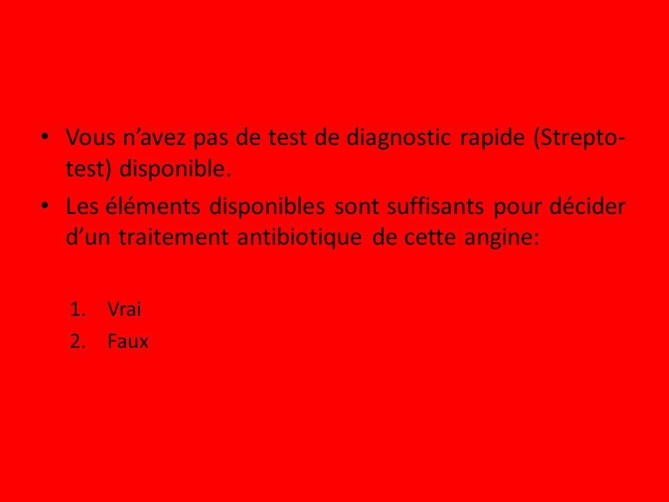 Vous n'avez pas de test de diagnostic rapide (Strepto-test) disponible.