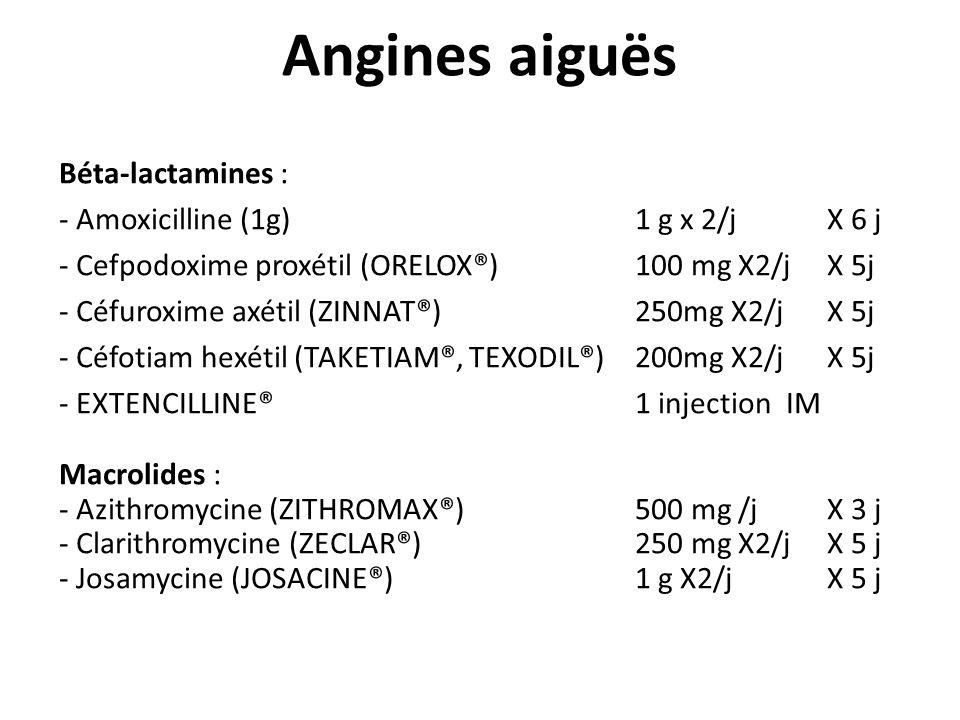 Angines aiguës Béta-lactamines : - Amoxicilline (1g) 1 g x 2/j X 6 j