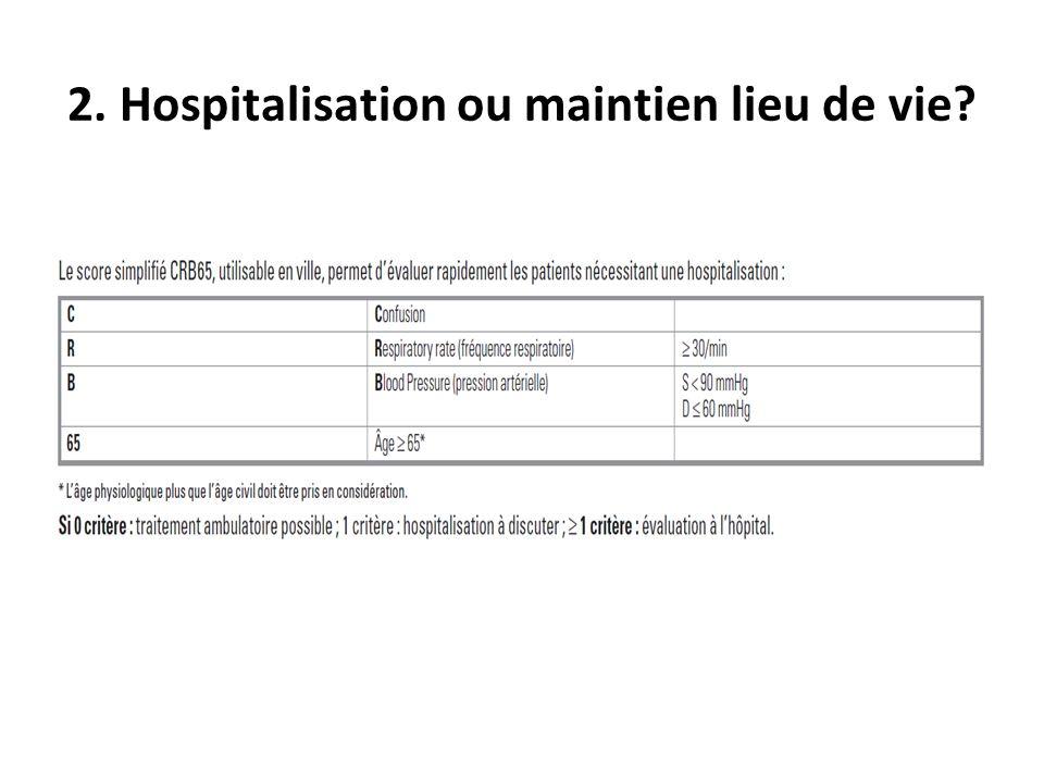 2. Hospitalisation ou maintien lieu de vie