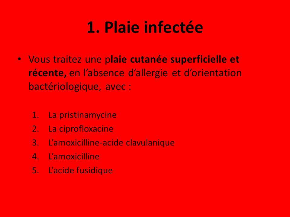 1. Plaie infectée Vous traitez une plaie cutanée superficielle et récente, en l'absence d'allergie et d'orientation bactériologique, avec :