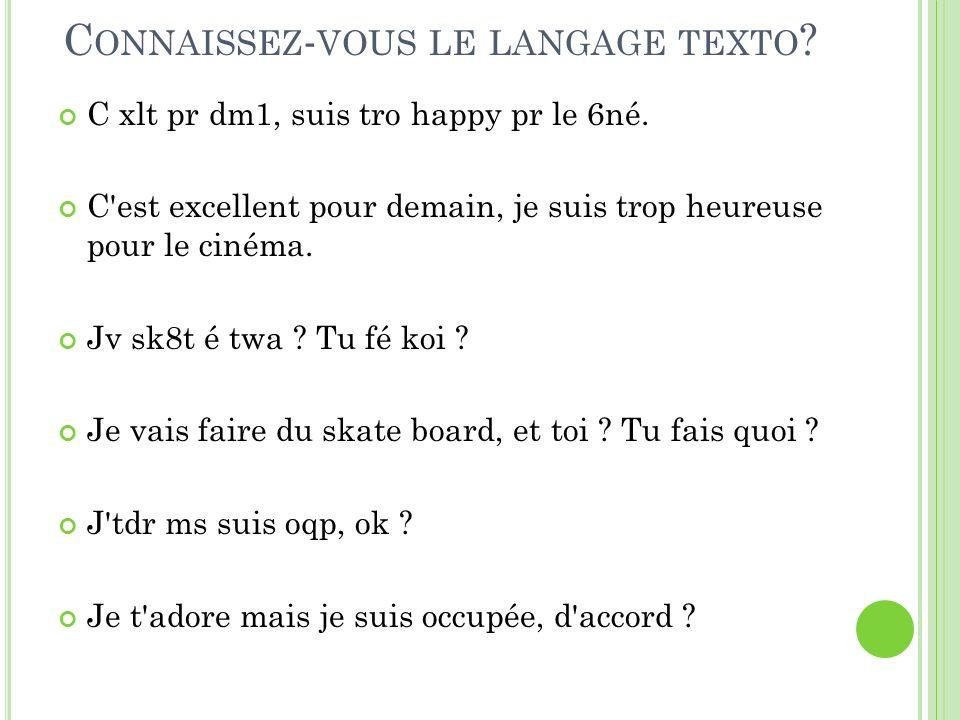 Connaissez-vous le langage texto