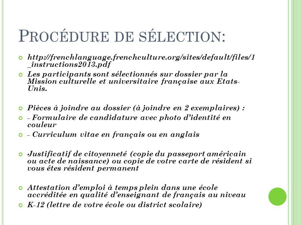 Procédure de sélection: