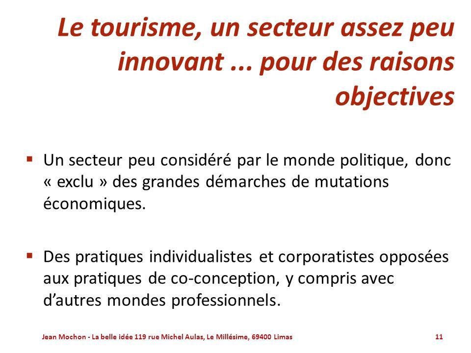 Le tourisme, un secteur assez peu innovant ... pour des raisons objectives