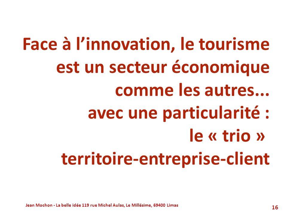 Face à l'innovation, le tourisme est un secteur économique comme les autres... avec une particularité : le « trio » territoire-entreprise-client