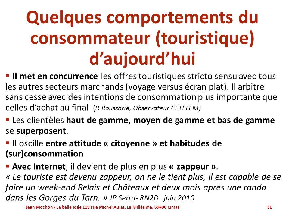 Quelques comportements du consommateur (touristique) d'aujourd'hui