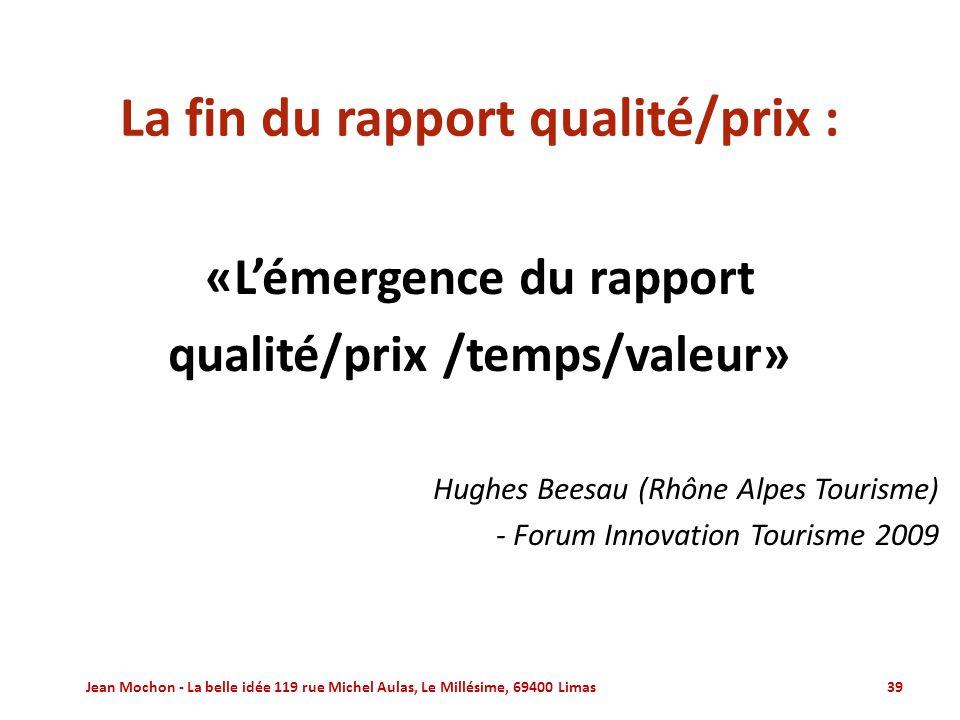 La fin du rapport qualité/prix :