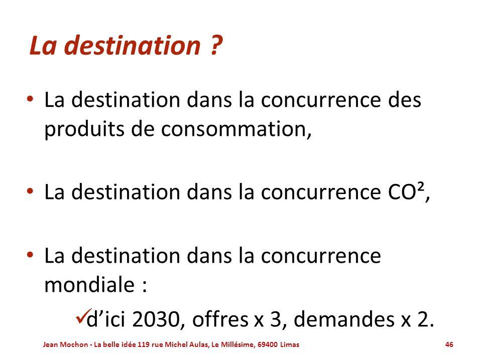La destination La destination dans la concurrence des produits de consommation, La destination dans la concurrence CO²,