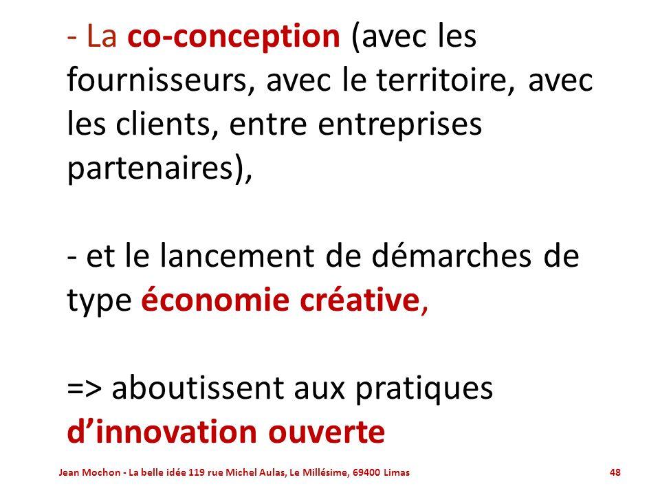 - La co-conception (avec les fournisseurs, avec le territoire, avec les clients, entre entreprises partenaires), - et le lancement de démarches de type économie créative, => aboutissent aux pratiques d'innovation ouverte