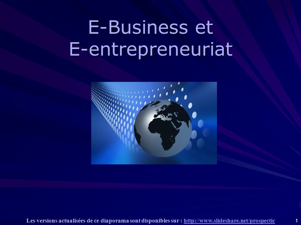 E-Business et E-entrepreneuriat