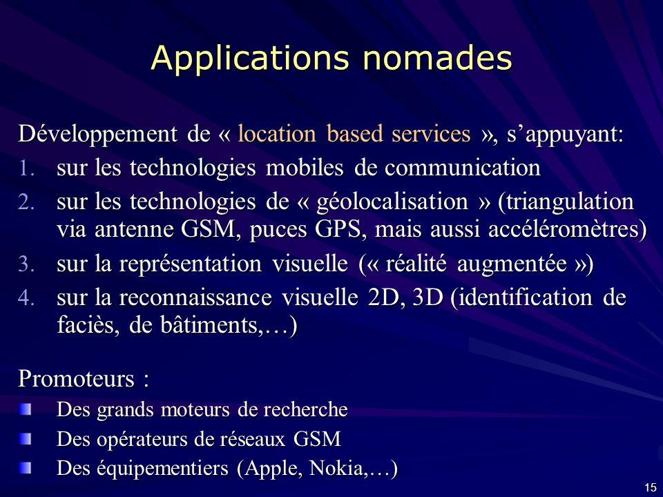 Applications nomades Développement de « location based services », s'appuyant: sur les technologies mobiles de communication.