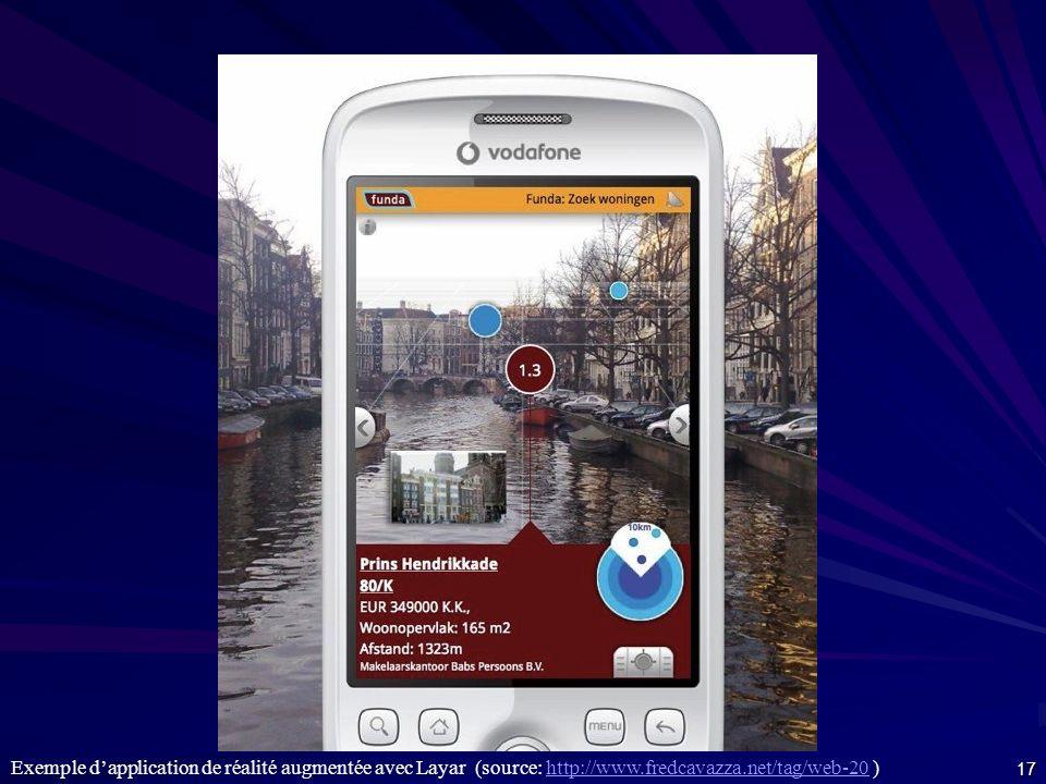 Exemple d'application de réalité augmentée avec Layar (source: http://www.fredcavazza.net/tag/web-20 )