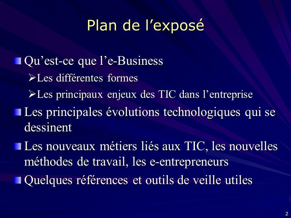 Plan de l'exposé Qu'est-ce que l'e-Business