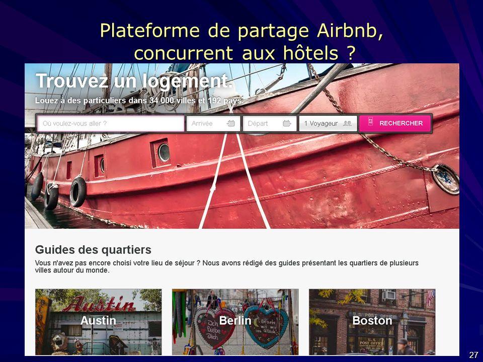 Plateforme de partage Airbnb, concurrent aux hôtels