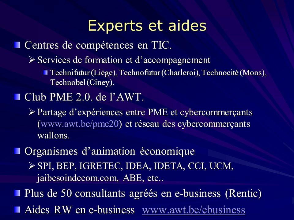 Experts et aides Centres de compétences en TIC.