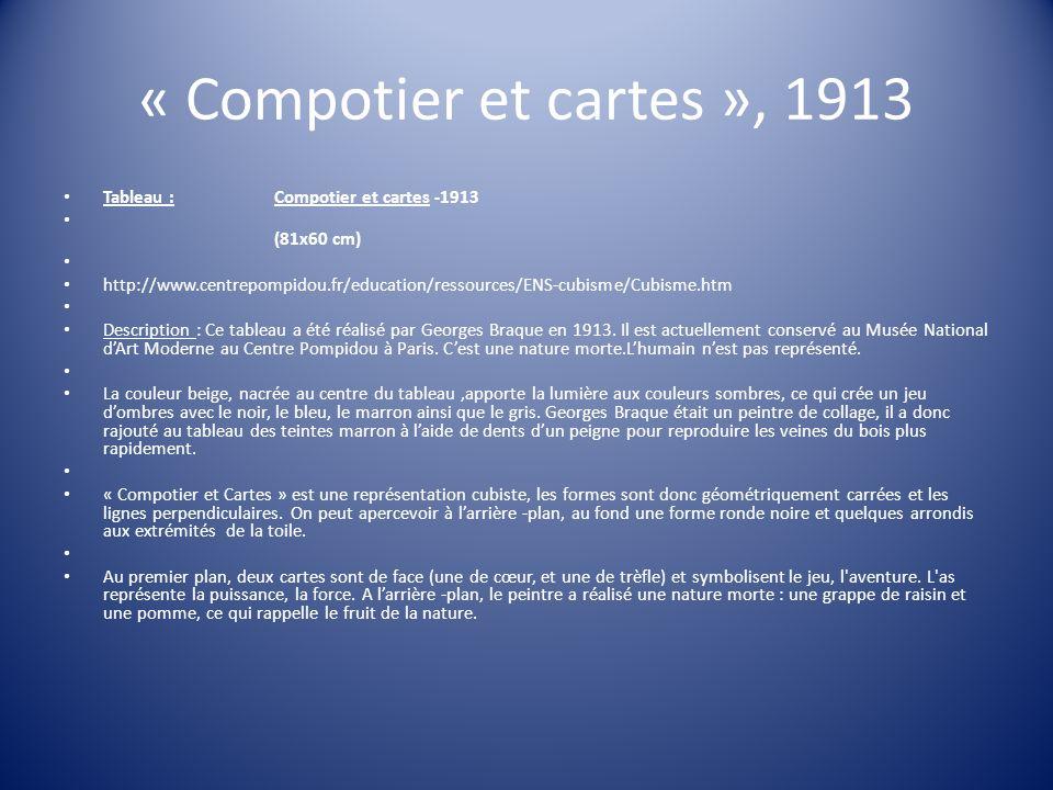 « Compotier et cartes », 1913 Tableau : Compotier et cartes -1913