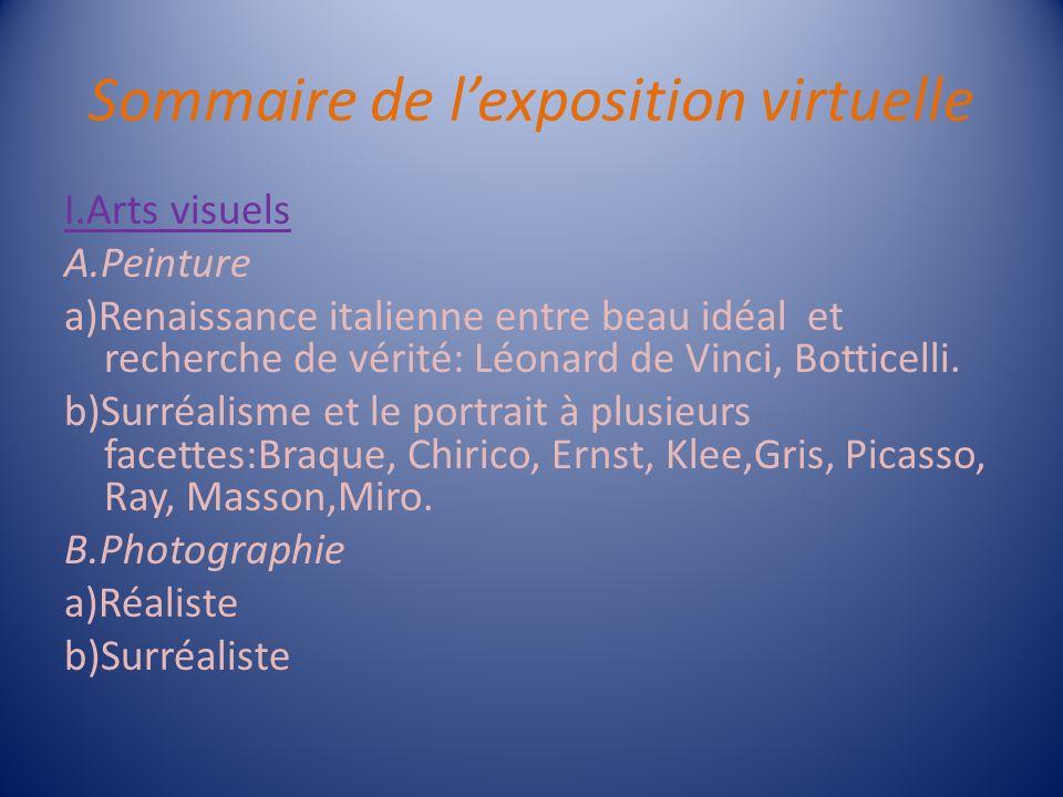 Sommaire de l'exposition virtuelle