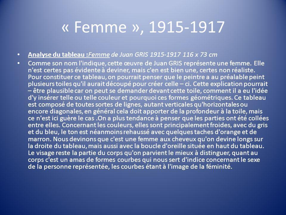 « Femme », 1915-1917 Analyse du tableau :Femme de Juan GRIS 1915-1917 116 x 73 cm.