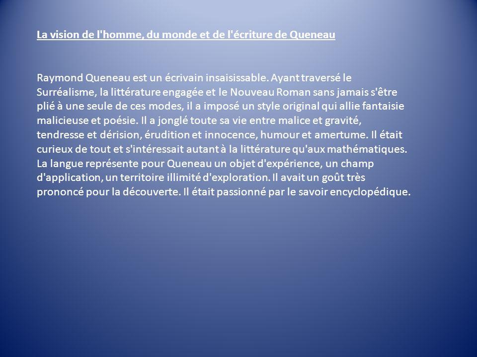 La vision de l homme, du monde et de l écriture de Queneau