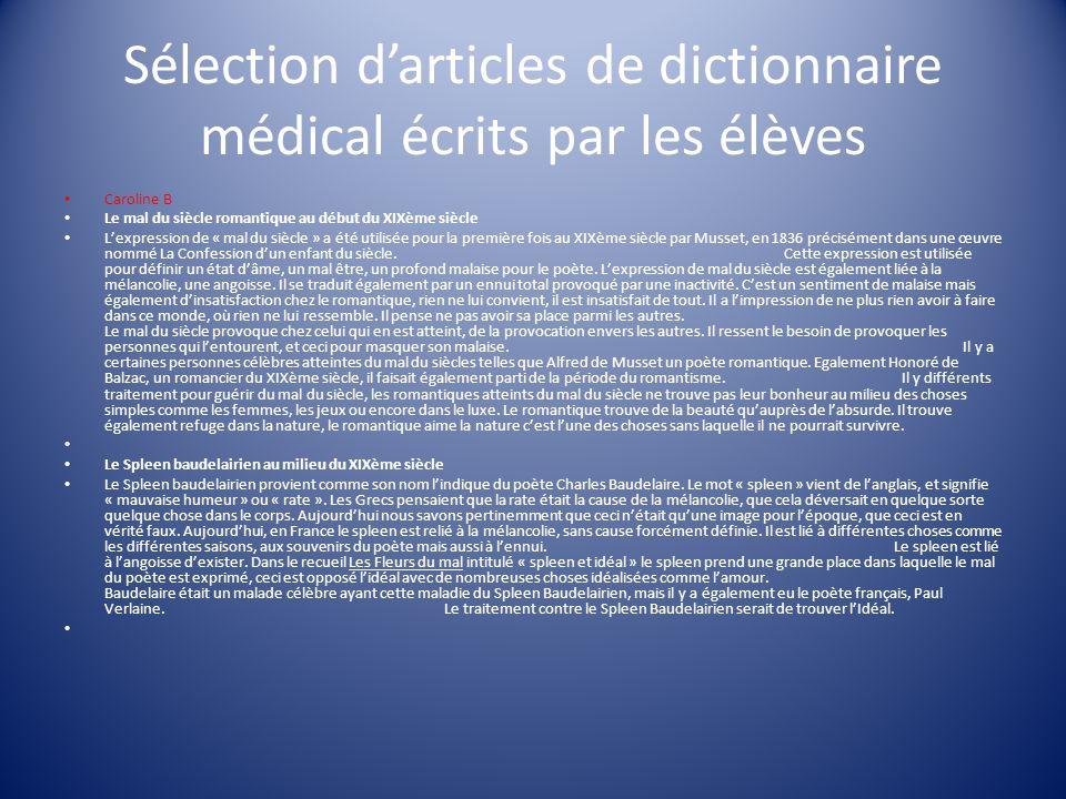 Sélection d'articles de dictionnaire médical écrits par les élèves