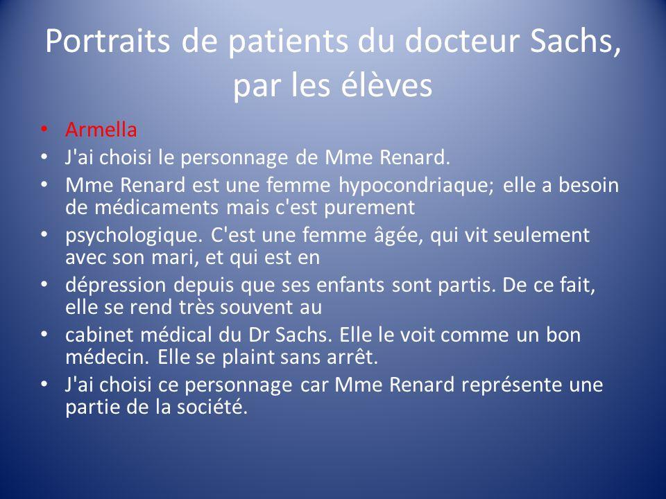 Portraits de patients du docteur Sachs, par les élèves