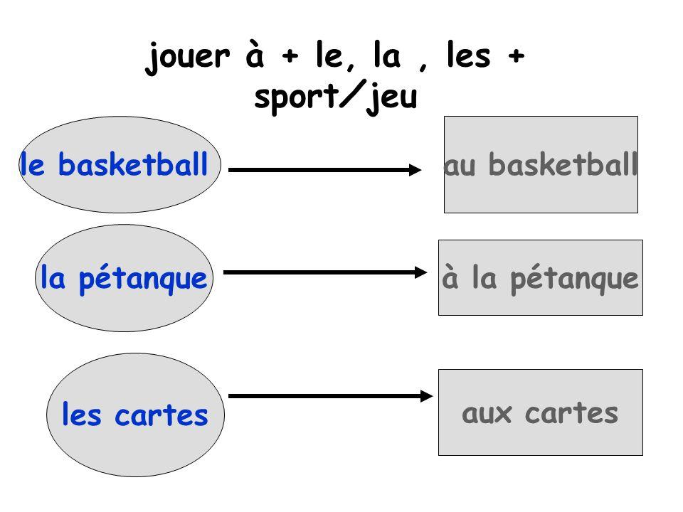 jouer à + le, la , les + sport⁄jeu