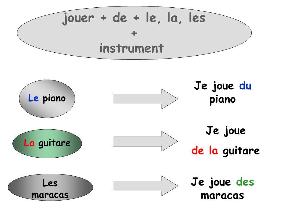 jouer + de + le, la, les + instrument