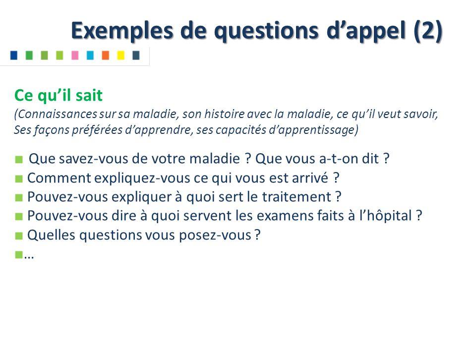 Exemples de questions d'appel (2)