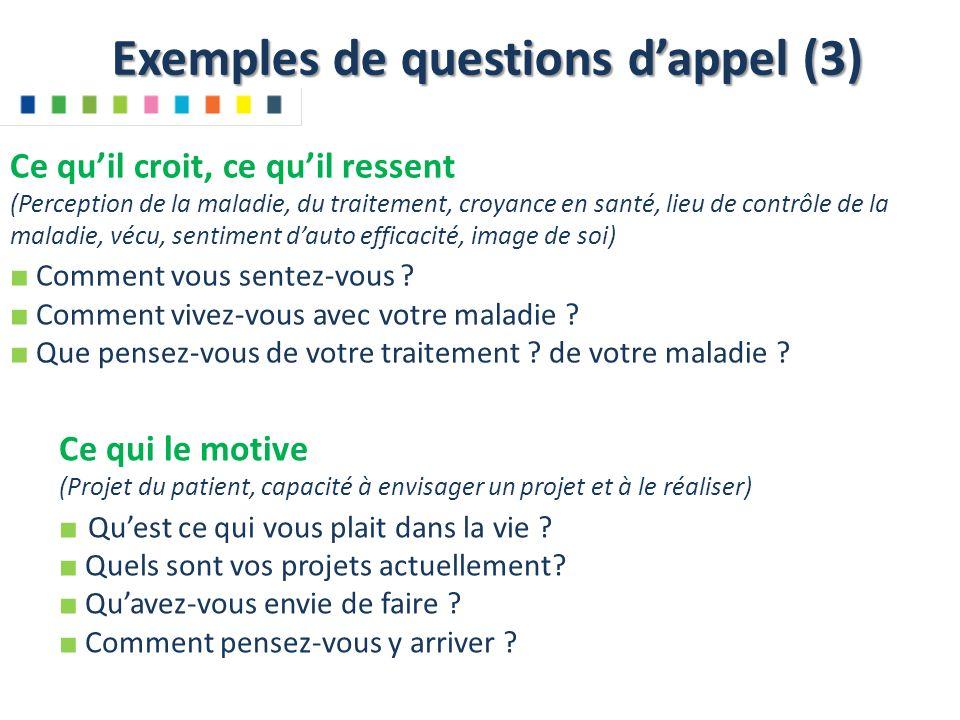 Exemples de questions d'appel (3)