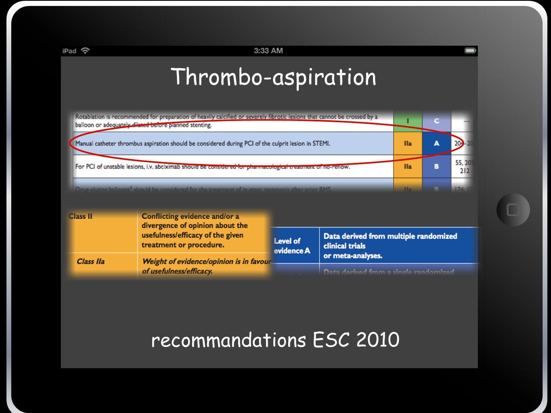 Thrombo-aspiration Recommandation ESC 2010 recommandations ESC 2010