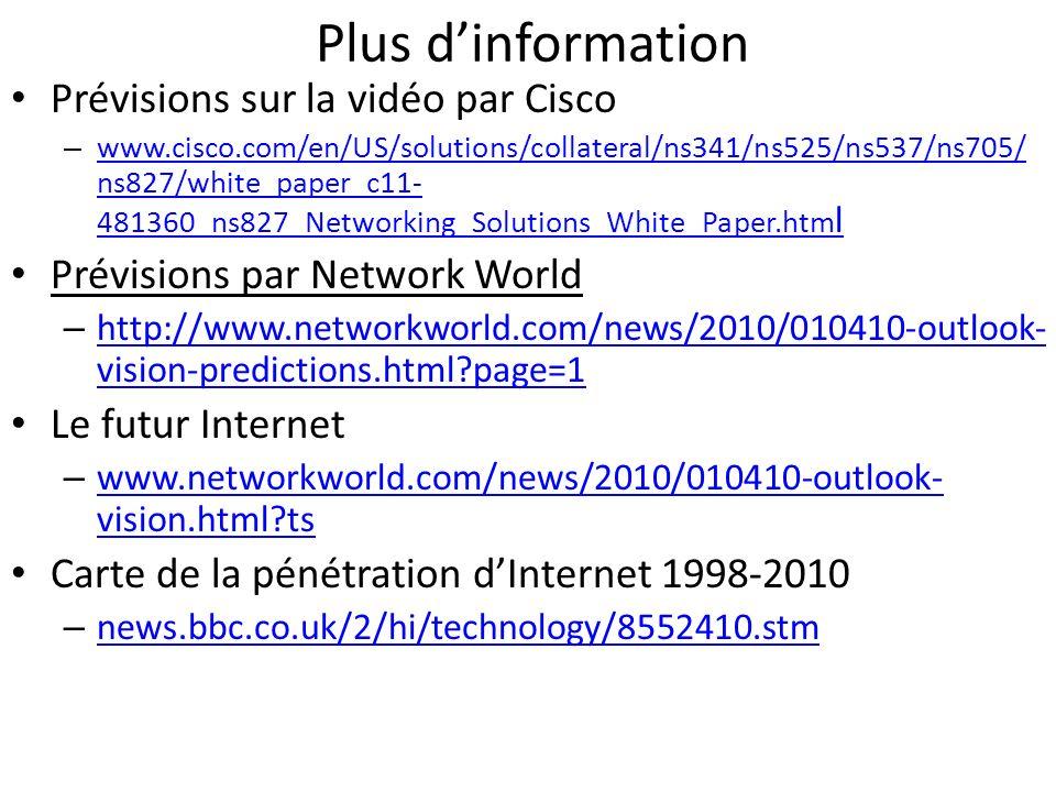 Plus d'information Prévisions sur la vidéo par Cisco