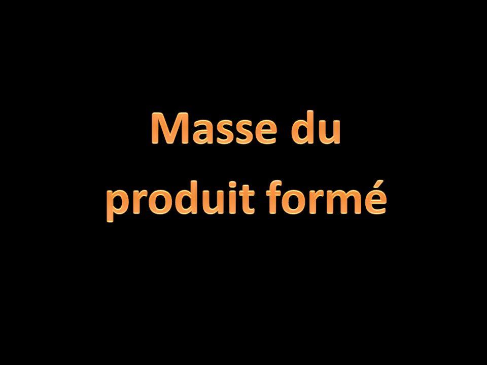 Masse du produit formé