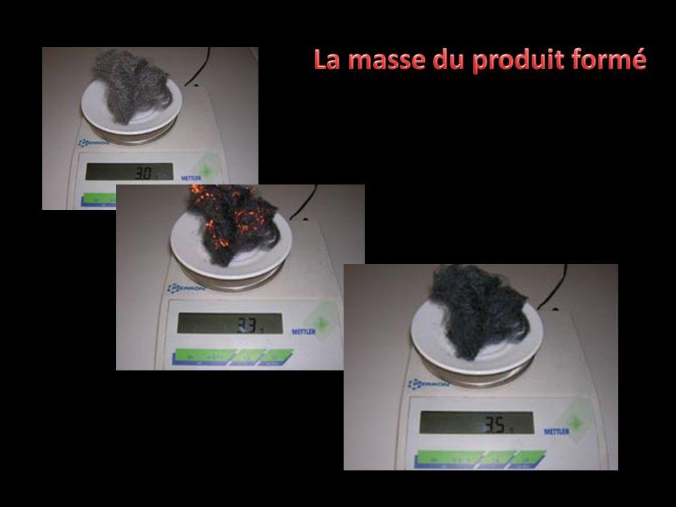 La masse du produit formé