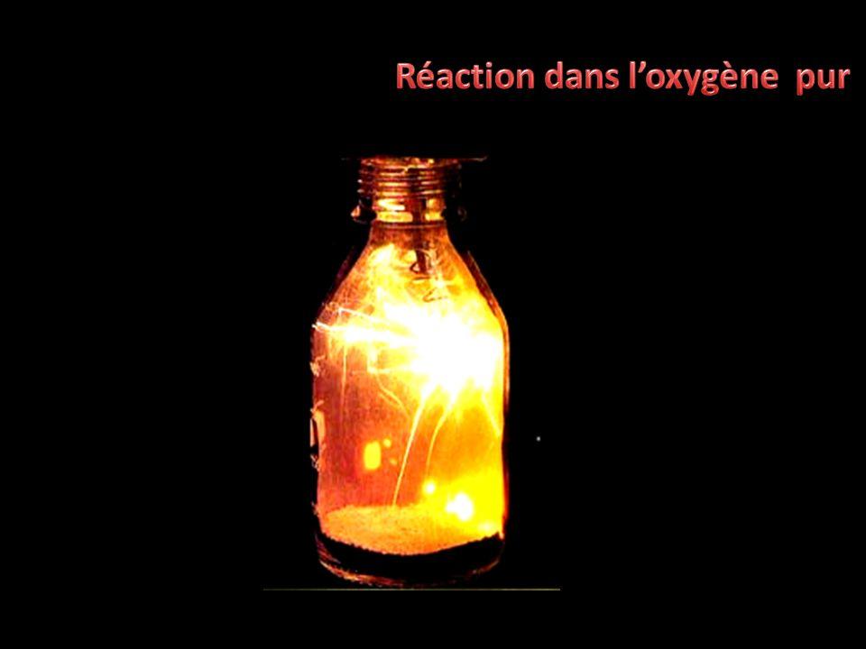 Réaction dans l'oxygène pur