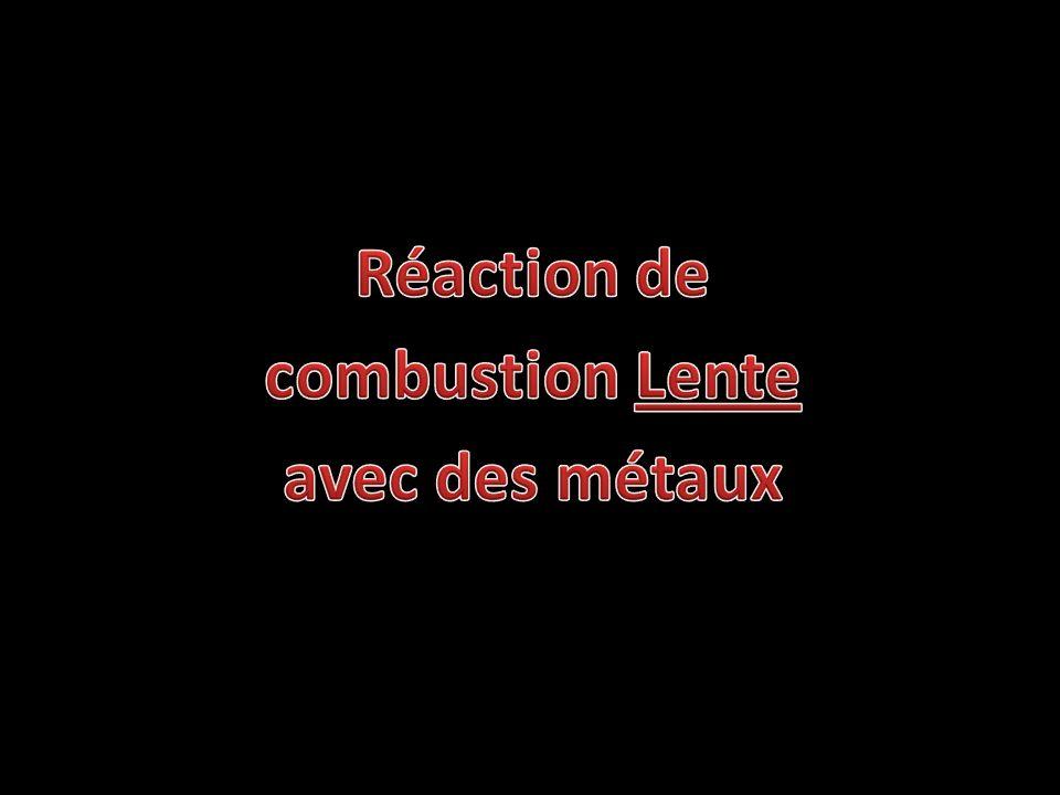 Réaction de combustion Lente avec des métaux